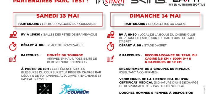 La 4ème Running Trail Session les Samedi 13 et Dimanche 14 Mai 2017 : Un Format qui évolue avec 2 partenaires et 2 Sites ! Et de nouveaux produits à tester !