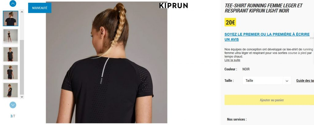 Kiprun Light : lien site tshirt