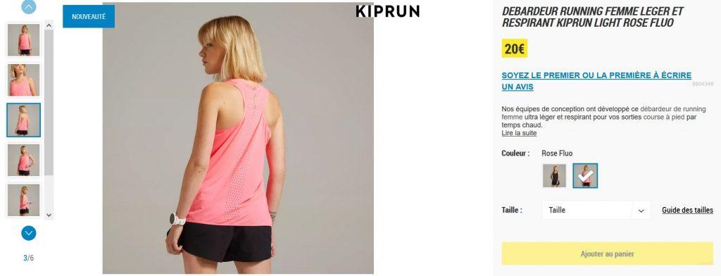 Kiprun Light : lien site débardeur